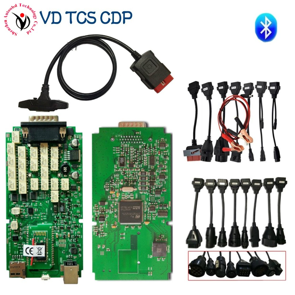 with full box 100% new nec relay VD TCS CDP 2015.R3 with Keygen Green Single Board with Bluetooth for Car truck Diagnostic tool автоинструменты new design autocom cdp 2014 2 3in1 led ds150