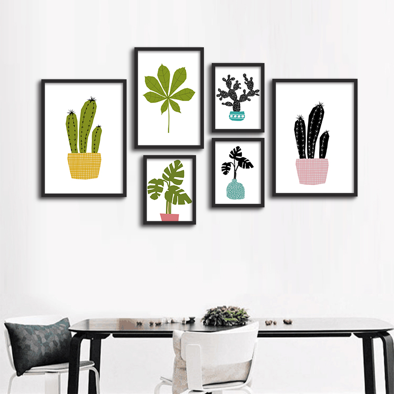 decorative pictures poster art nordic cactus flowers posters and prints frame not include fc1075china