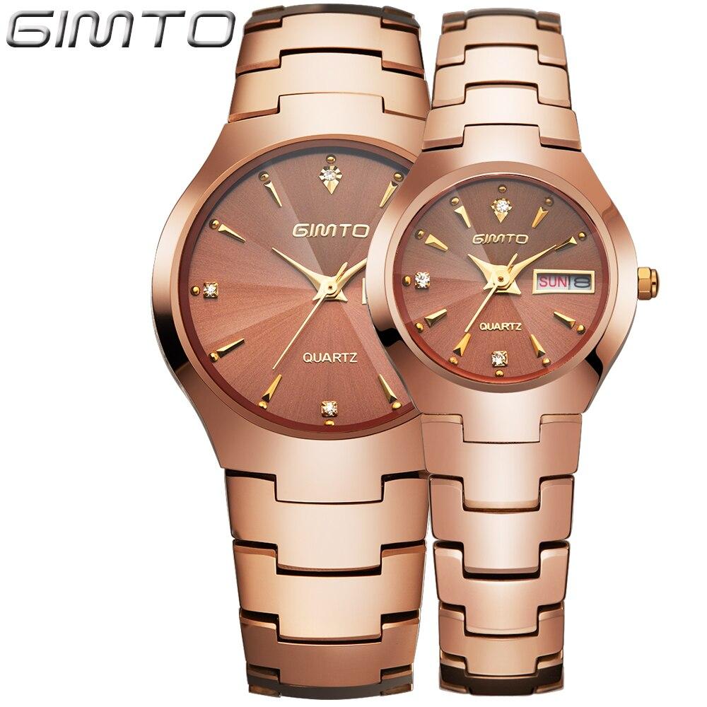 Lovers Tungsten Steel Watches Couple Luxury Fashion Business Men Women Full Steel Quartz Watch Waterproof rhinestone