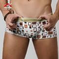 Free shipping XUBA Ice silk sexy men's underwear boxer Plaid u convex  low waist breathable boxer  2 colors size S M L XL