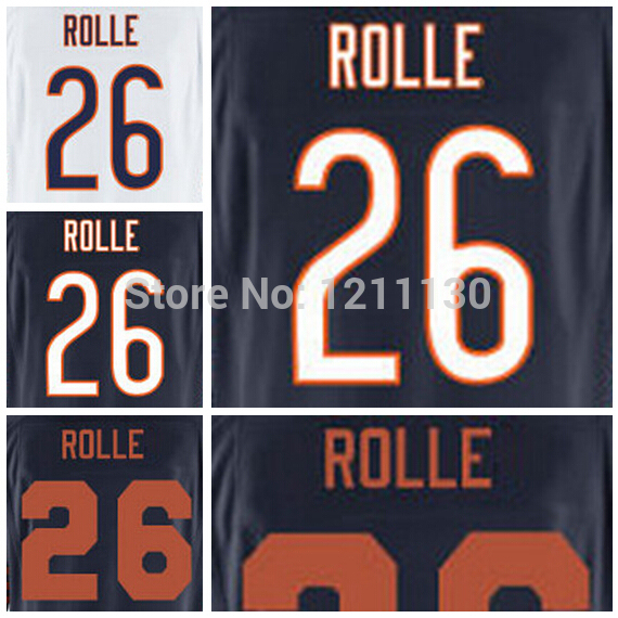 Best Quality  #26 Antrel Rolle Football Jersey Blue White Embroider Logo Rolle Jersey American Football Jerseys