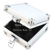 Free Shipping Small Aluminum Silver Tattoo Rotary Gun Machine Grip Tube Tip Box Case Kit Supply