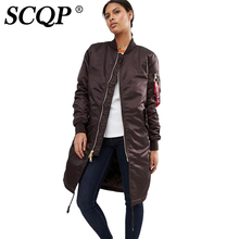 SCQP Solid Rope Long Satin Bomber Jacket Army Green Ladies Fashion Winter Warm Souvenir Jacket Letter Zipper Women Basic Coats