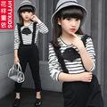 Девушки весна одежда повседневная для 5 6 7 8 9 10 11 12 лет childredn одежда новая мода мило с длинным рукавом и комбинезон