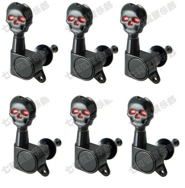 6r black electric guitar strings skull button tuning pegs keys tuner machine heads guitar parts. Black Bedroom Furniture Sets. Home Design Ideas