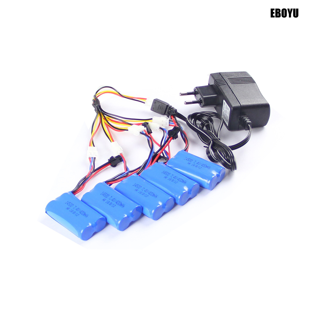 EBOYU 5pcs * <font><b>7.4V</b></font> <font><b>400mAh</b></font> <font><b>Battery</b></font> with SM 2P Plug for FY001A/FY001B/FY001B+WIFI/FY001A+WIFI/JJRC Q60/JJRC Q61 + Other RC Truck image