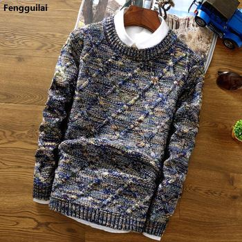 2018 New Fashion Mens Christmas Sweater Casual Slim Fit Male Clothing Long Sleeve Knitted Pullovers Winter Thick Sweater Men 1