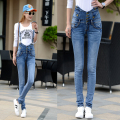 New 2016 Female Women Fashion Long Trousers Women's Plus Size Elastic Jeans Woman Pencil Denim Pants Blue Gray Color
