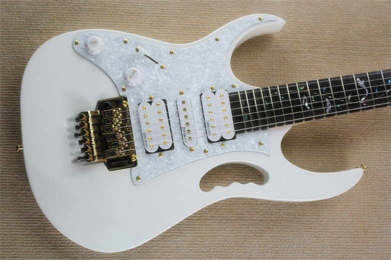 Hot Sale Top Quality Factory Left Handed tree of life inlays 21 to 24 frets scalloped white Electric Guitar with gold hardware image