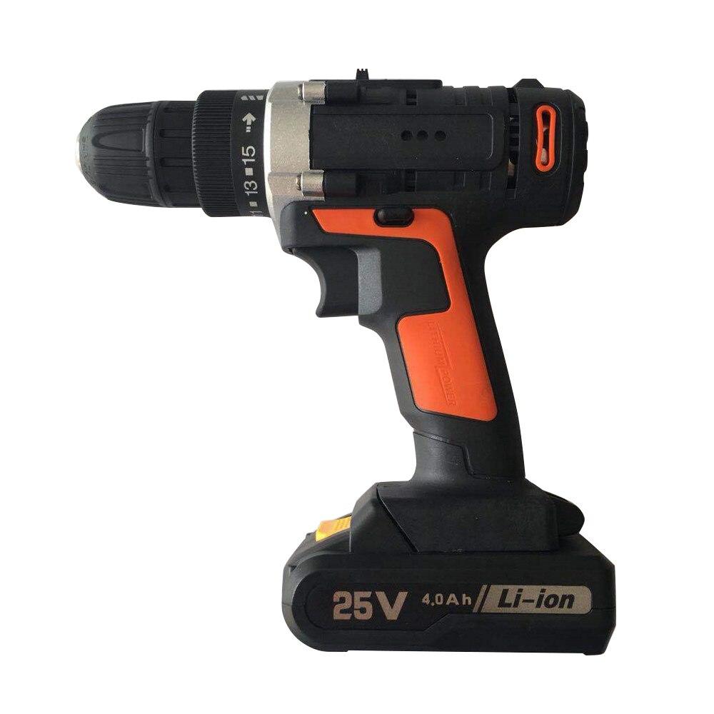25V 15 perceuse visseuse 1/2 pièces batterie Li réglages de batterie Kit de clé à chocs électrique sans fil perceuse à main outil électrique