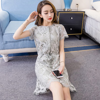 2017Summer Ladies Brief Grey Lace Dress Fashion Solid Color Dresses With Buttons