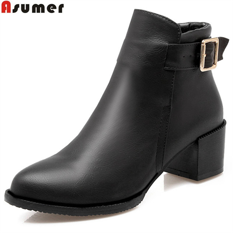 ASUMER 2017 hot sale autumn winter new arrive women boots fashion buckle high quality pu ladies ankle boots big size 32-45 boots