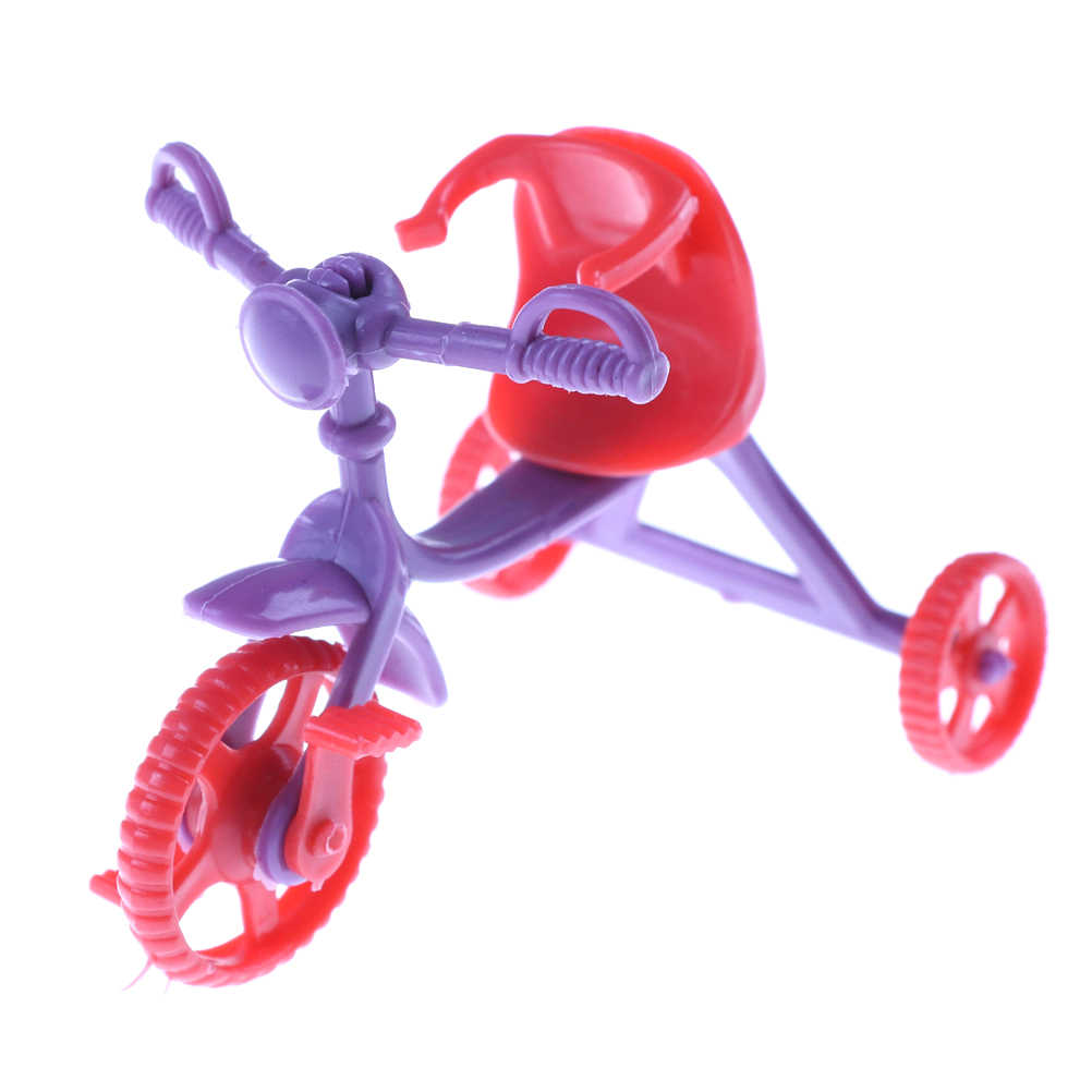 New Mini Kids Tricycle with Push Handle Toy for    Doll Girls Birthday Gifts Doll Ac Fits for 10cm   Dolls
