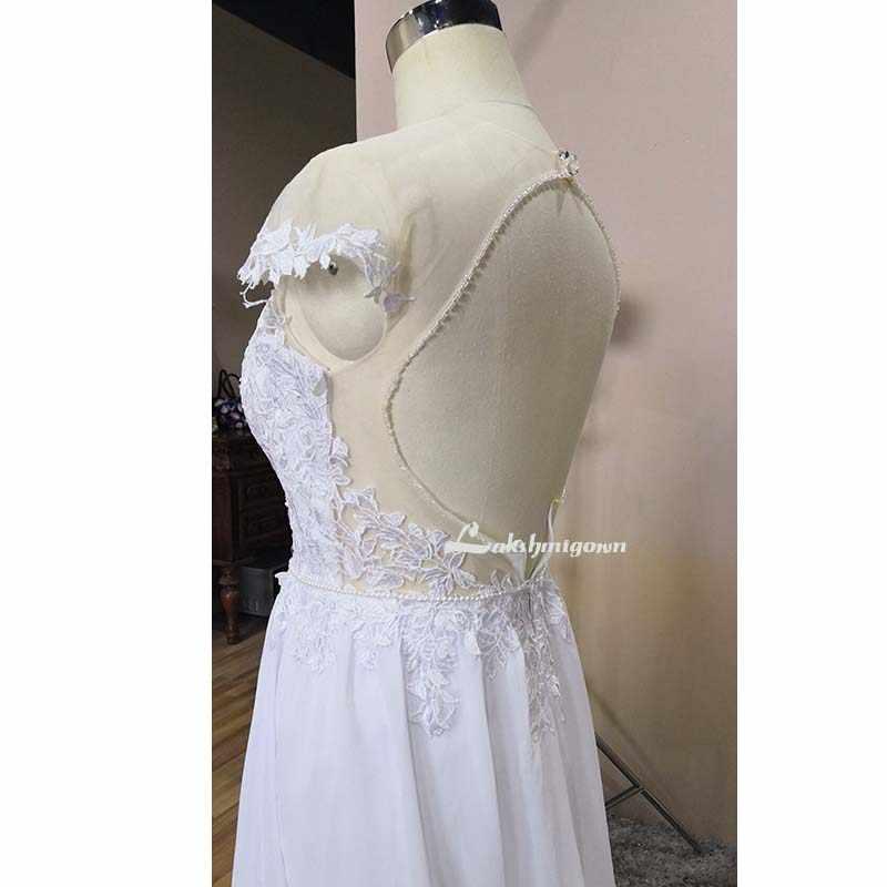 V pescoço apliques borda aberta sem mangas vestido de casamento 2019 quente sexy branco sem costas rendas vestidos de casamento