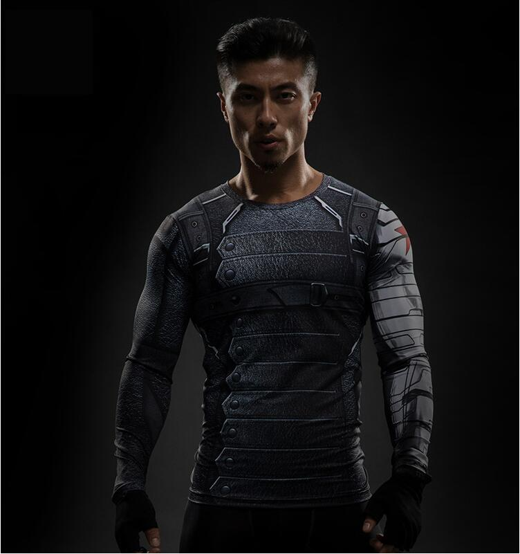 3D Winter Soldier Avengers 3 Compression Shirt Men Summer Long Fitness Crossfit T Shirts Male  Clothing 3D Tights Tops