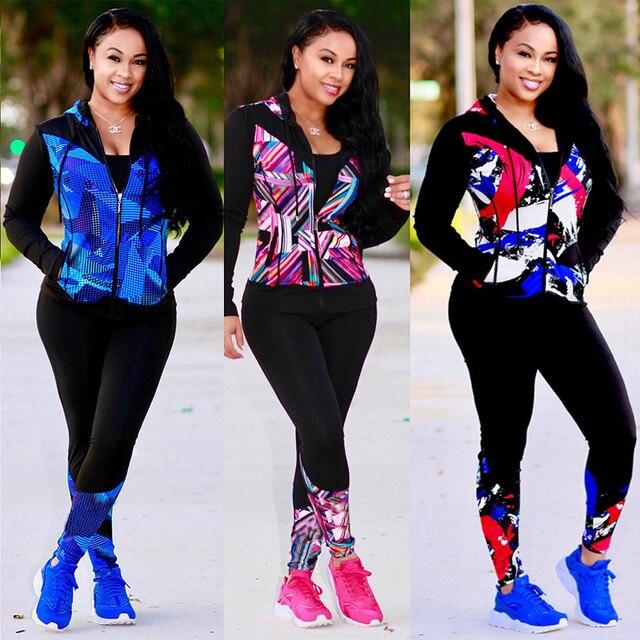 26ae6543e4de TWO PIECE SET Print Hoodies Vogue Tracksuit Pants Tweed Jacket Long Sleeve Women  Sweat Suit Plus