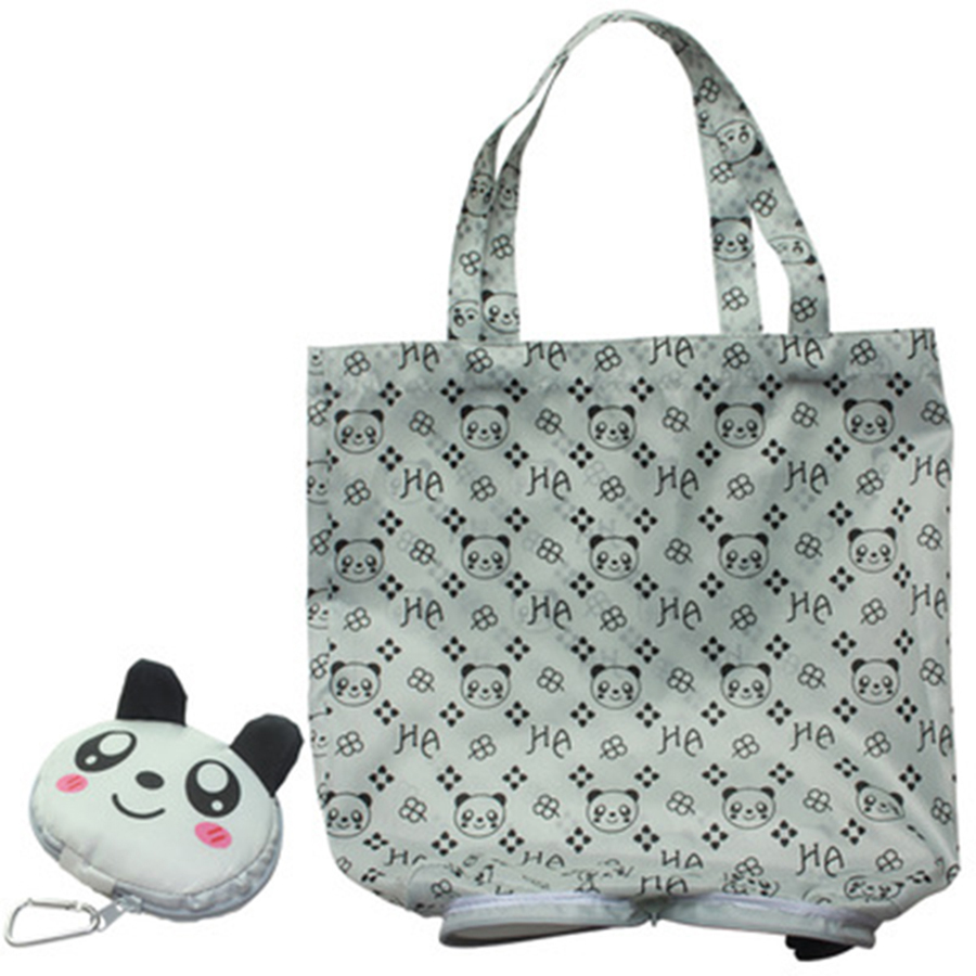 Hasp Cartoon Anime Folding Shopping Tote Reusable Eco Bag Panda Frog Pig Bear waterproof shopping bag Grocery  Handbags