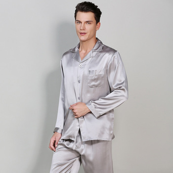 19MU 100% Pure Men's Pajamas Suits Long Top and Pant Silk Pajama Sets Plus Size 3XL Pijama Home Suit Real Silk Pajama Sleepwear