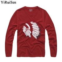 卸売yiruisenブランド服長袖tシャツ男性2016インドのファッションtシャツ100%コットン春秋のtシャツ男