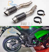 Modified motorcycle exhaust pipe middle pipe Z1000 2010-2016 carbon fiber Z1000 exhaust two sides muffler z1000 link pipe