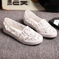 2016Summer Slipony Women Footwear Breathable Loafers Espadrilles Women Sequined Lace Mesh Openwork Mesh Casual Shoes Black White