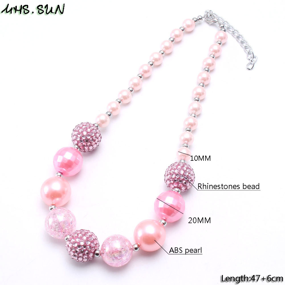 BN623-2  Girls Chunky Beads Necklace Fashion Pink Style Baby Child Beads Necklace Charm Trendy Chunky Bubblegum Jewelry Newest