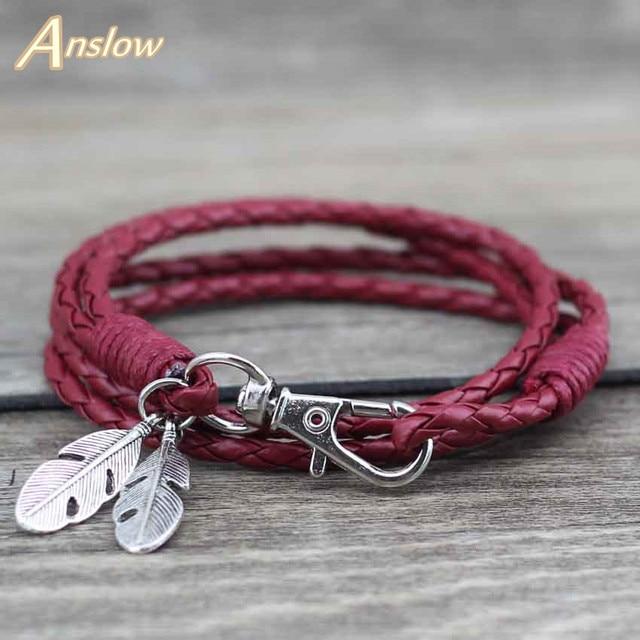 Anslow Whole Fashion Jewelry Leather Charm Friendship Bracelets Bangles Feather Bracelet For Women Men12 Colors