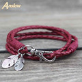 Anslow Wholesale Fashion Jewelry Leather Charm Friendship Bracelets & Bangles Feather Bracelet For Women Men12 Colors LOW0172LB