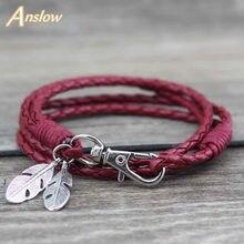 Anslow hurtownia moda biżuteria skóra urok przyjaźń bransoletki i Bangles bransoletka z piórami dla kobiet Men12 kolory LOW0172LB