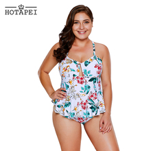 dde9bd02e31dd Hotapei 2018 new swimwear Tropical Floral Print Peplum One Piece Swimsuit  Bodysuits LC410445 women plus size
