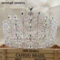ZerongE jóias lindo strass pageant tiara do casamento da gota lady nupcial tiara cabelo jóias banda evento tiara coroa de miss mundo
