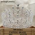 zerongE jewelry gorgeous rhinestone pageant drop wedding tiara lady bridal tiara hair jewelry band miss world event tiara crown