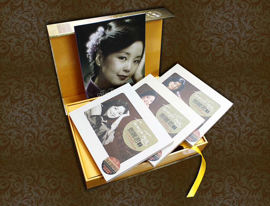 Chinese original CD music book with high quality (5 CD+1VCD) ,chinese famous singer Teresa Teng CD and DVD music express age 8 9 book 3cds dvd rom