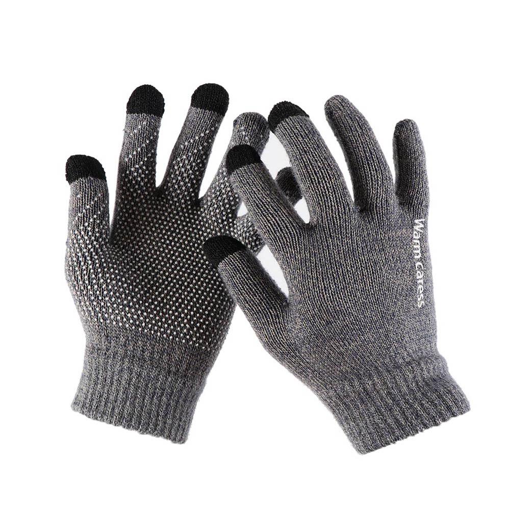 1Pair Men Thicken Knitted Gloves For Phone Screen Male Winter Autumn Warm Wool Cashmere Solid Gloves Men Mitten Business Gloves