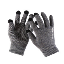 1Pair Men Thicken Knitted Gloves For Phone Screen Male Winter Autumn Warm Wool C