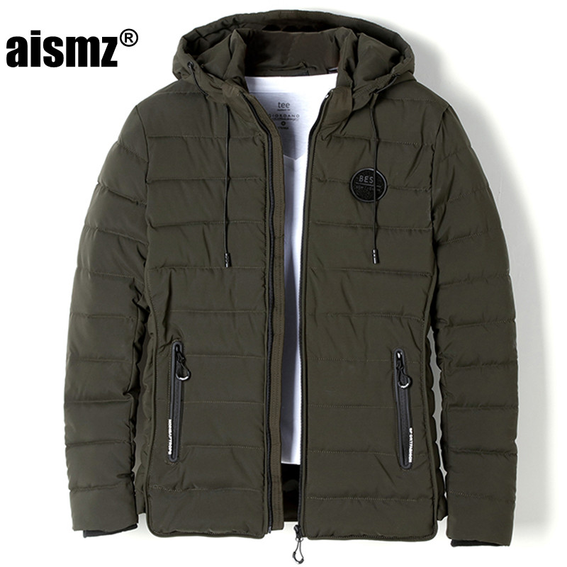 Aismz Winter Jacket Men Short With Hooded Coats Jackets Thicken Warm outweart Brand Clothing Army Jacket