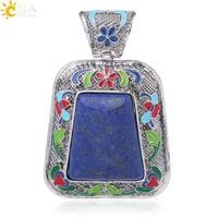 CSJA, большой размер, лазурит, натуральный камень, кулон для мужчин, ожерелье, драгоценный камень, полудрагоценные ювелирные изделия, изготовл...