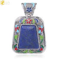 CSJA Big Size Lapis Lazuli Natural Stone Pendant Men for Necklace Gem Semi-precious Jewelry Making Reiki Good Luck Healthy F991