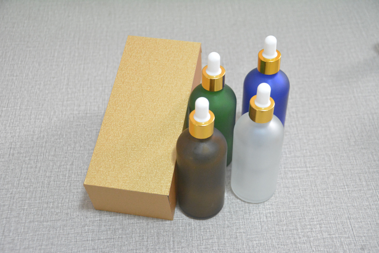 4pcs 100ml high-grade frosted glass bottle empty dropper bottle With wooden box, essential oil bottle, perfume subpackage jar himabm natural amethyst perfume bottle scent bottle essential oil bottle can volumetric flask birthday