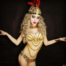 Sexy Gold Rhinestone Beads Bra Short Costume Outfit Sets Party Body suit Nightclub Bar Dance Bikini