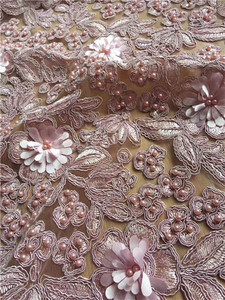 Image 2 - African Lace Frabric 3D flower With full beads Guipure Lace Fabric Nigerian Lace Fabric