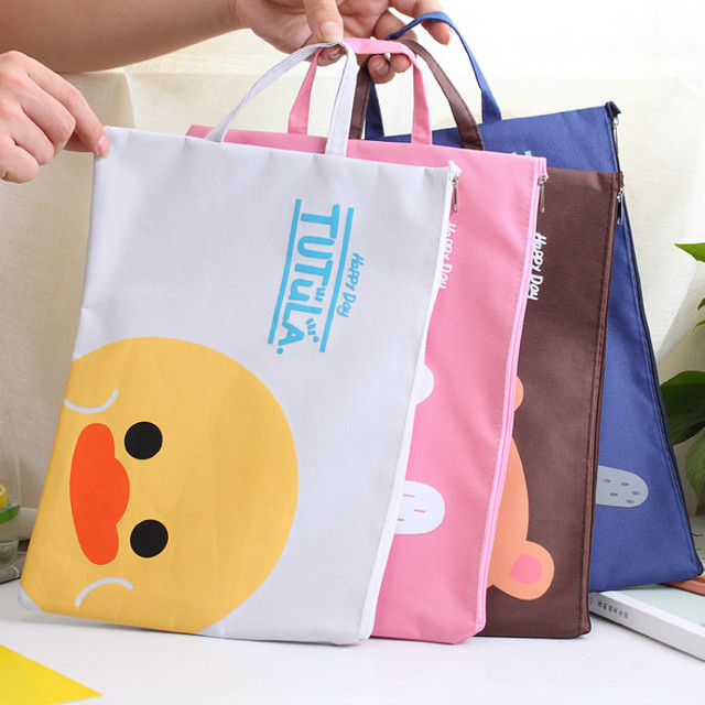 Cute Cartoon File Folder Hand Bag Student A4 Oxford Portable Office Supplies Organizer Bags Lady Contract