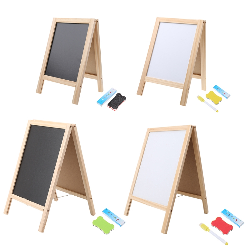 1set Mini Wooden Tripod Blackboard Desk Writing Blackboard Small Double Easel Message Board Whiteboard
