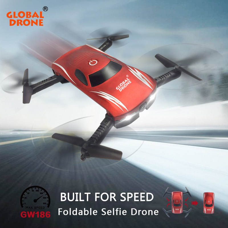 Global Drone GW186 Foldable Selfie Drone Profissional Voice Phone Control Wifi FPV Quadrocopter Drone with Camera VS JY018 E52