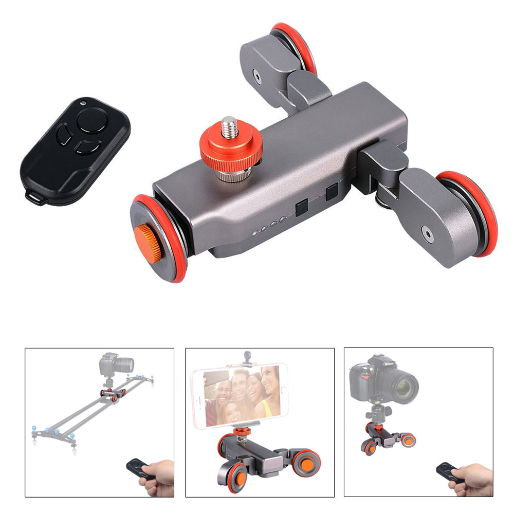 цена на Mcoplus Autodolly Wireless Remote Motorized electric Track Slider Dolly 3-Wheel Car DSLR Video Pulley Rolling Skater camera