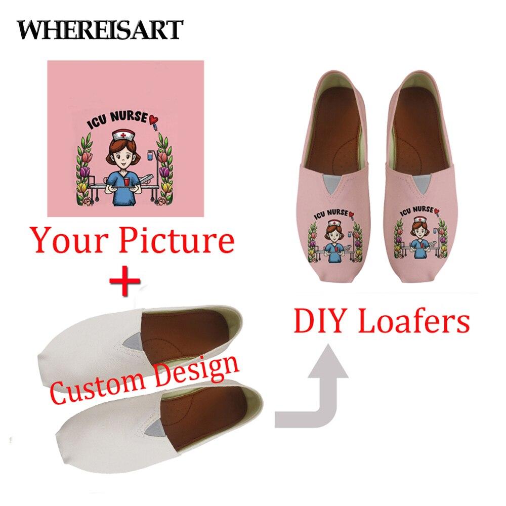 WHEREISART/женская повседневная обувь на заказ с изображением или логотипом; лоферы на плоской подошве; парусиновая модная женская летняя Легка