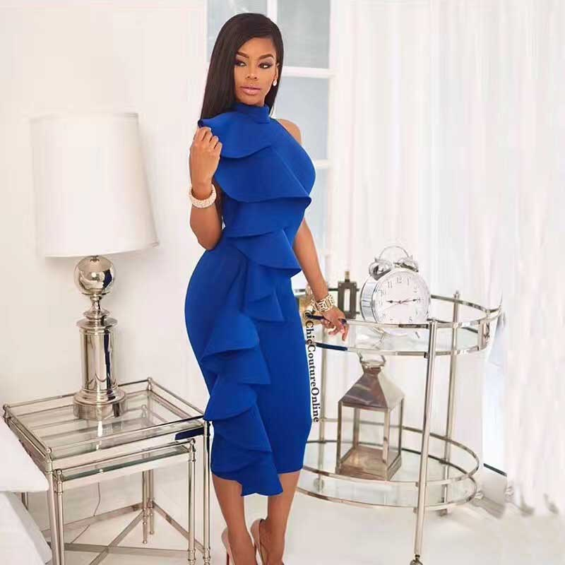Multicolored Blue Shoulder binding fashion bandage dress star annual meeting hosted ...