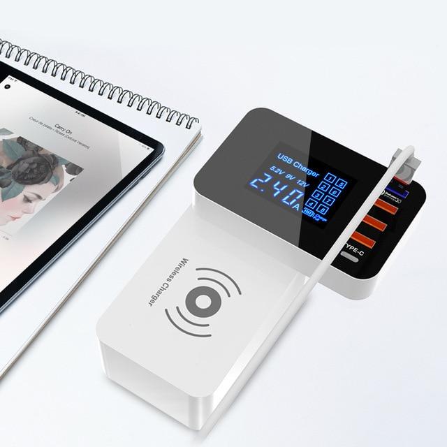 QI Sạc Không Dây Sạc Nhanh Thông Minh USB Loại C Trạm Sạc LED Hiển Thị Máy Tính Bảng Điện Thoại Di Động Sạc USB Adapter Sạc