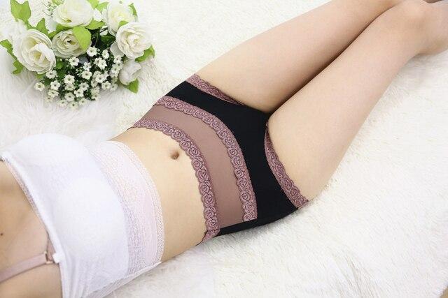 Free Shipping women's underwear high waist cotton lace sexy briefs Color Black Skin Light Purple Blue Green SIZE L XL R1 3