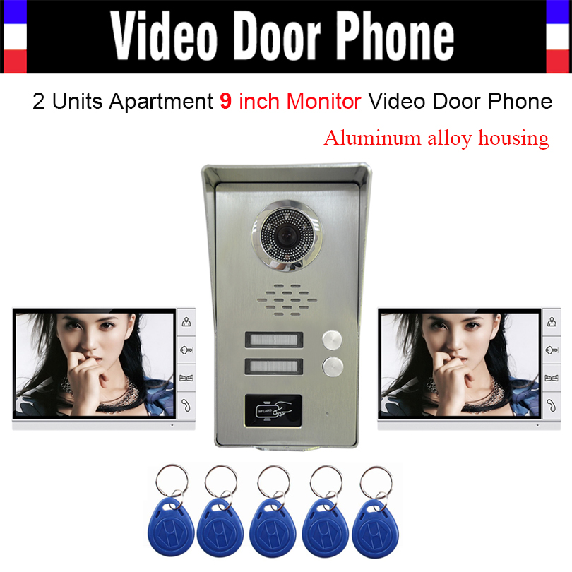 2 Units Apartment households 9 Monitor Video Door phone Video DoorPhone Intercom LUXURY Aluminum Alloy RFID